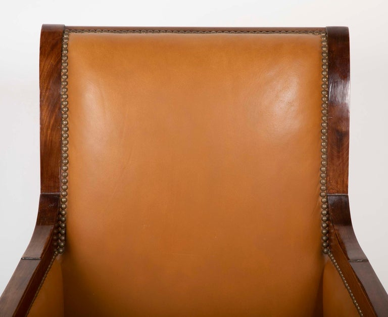 Pair of Louis Philippe Cognac Leather Bergeres For Sale 2
