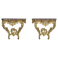 Pair of Louis XV Style Giltwood Console d'Appliques, circa 1910