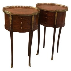 Pair of Louis XV Style Oval Tables with Drawers