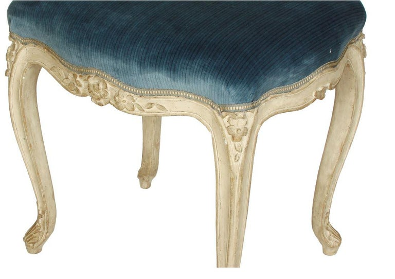 Pair of Louis XV Style Stools in Blue Strie Velvet In Good Condition For Sale In Locust Valley, NY