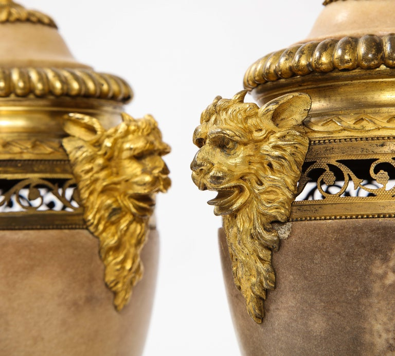 Pair of Louis XVI North European Neoclassical Ormolu and Marble Potpourris For Sale 3