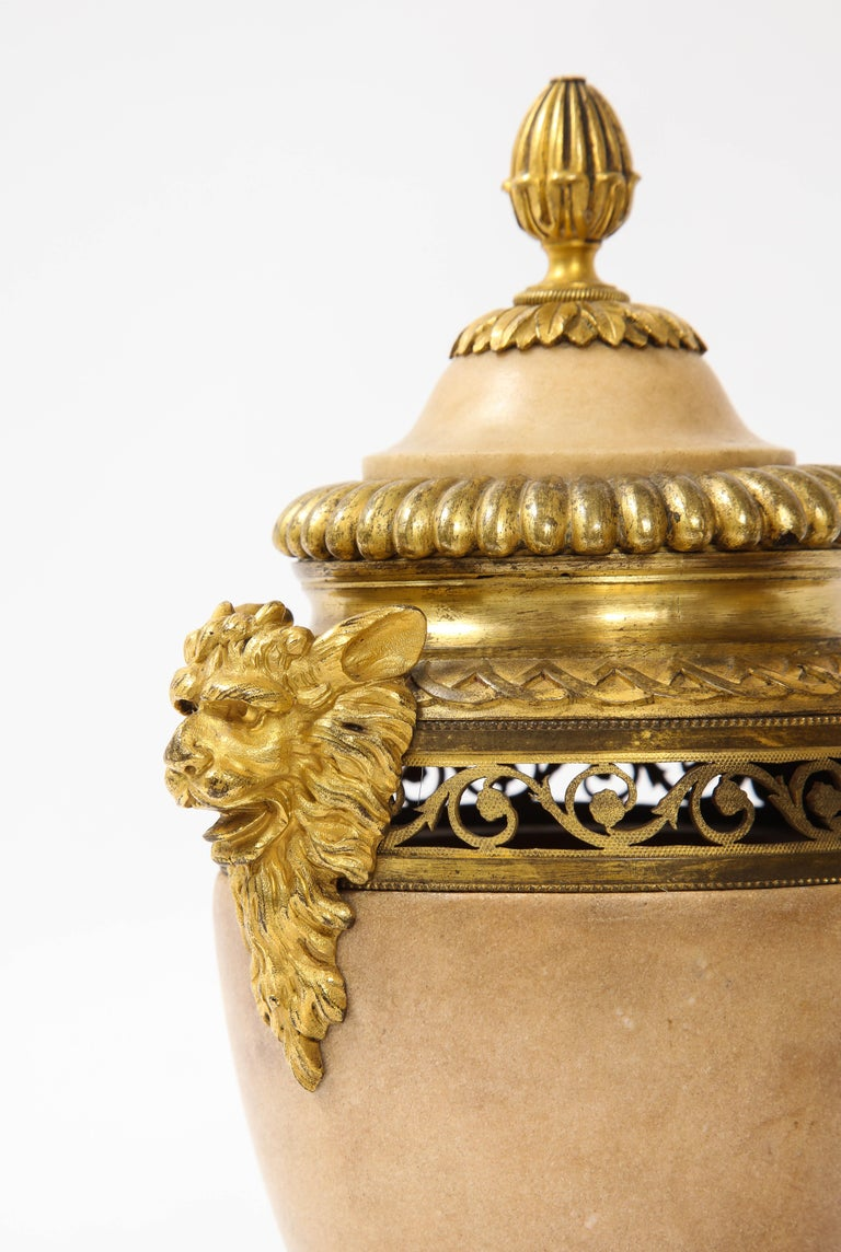 Pair of Louis XVI North European Neoclassical Ormolu and Marble Potpourris For Sale 6