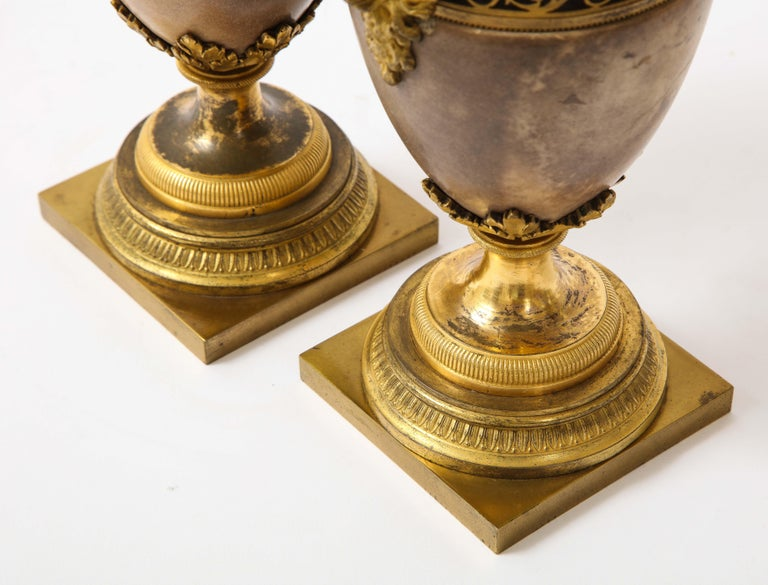 Pair of Louis XVI North European Neoclassical Ormolu and Marble Potpourris For Sale 12