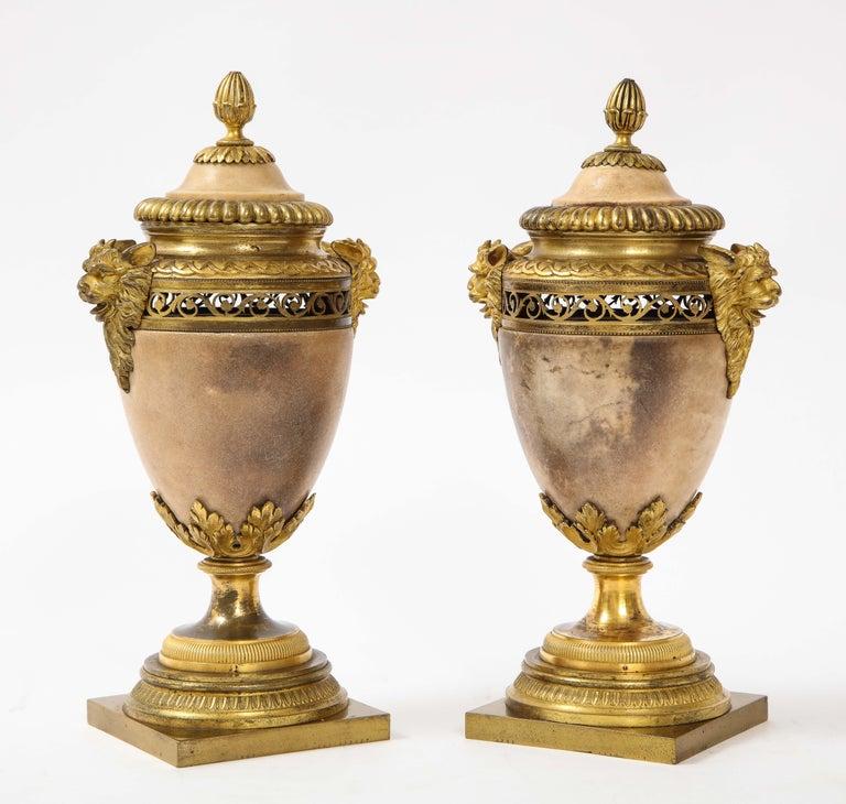 Italian Pair of Louis XVI North European Neoclassical Ormolu and Marble Potpourris For Sale