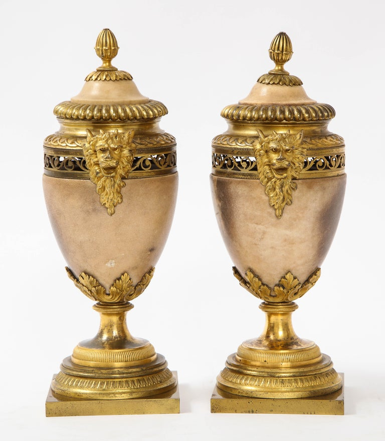 Hand-Carved Pair of Louis XVI North European Neoclassical Ormolu and Marble Potpourris For Sale