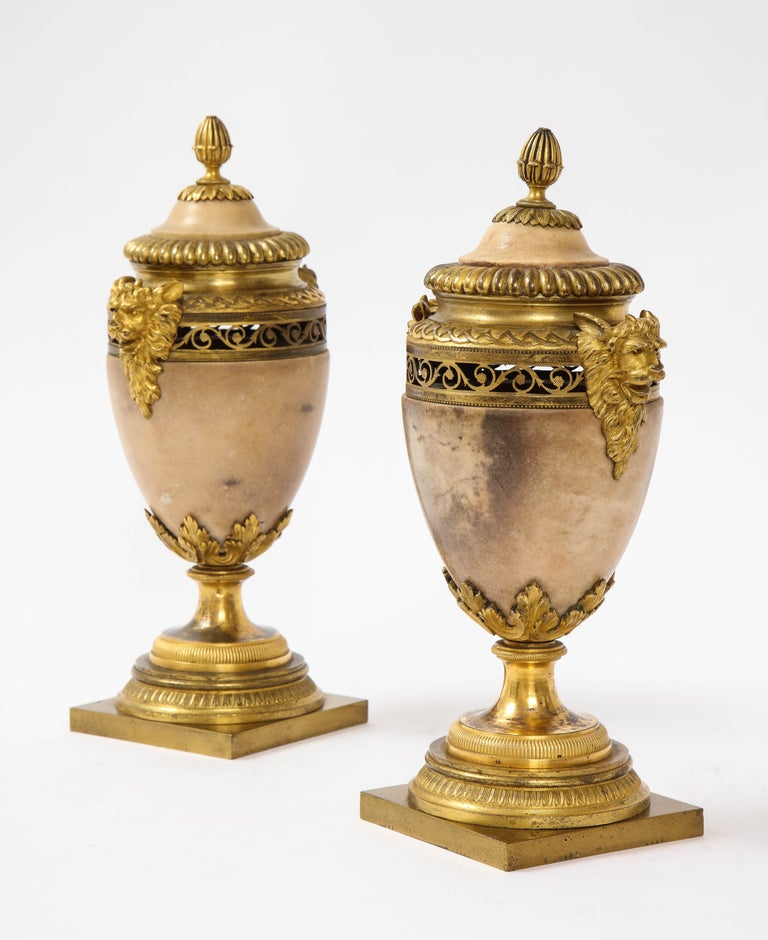 18th Century and Earlier Pair of Louis XVI North European Neoclassical Ormolu and Marble Potpourris For Sale