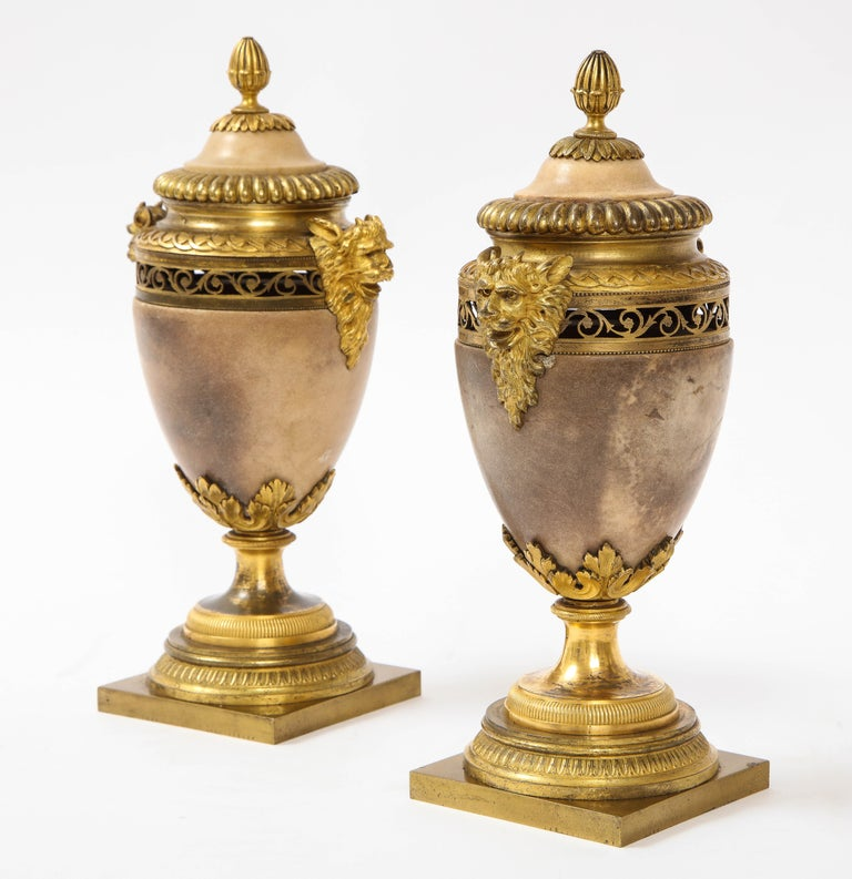 Bronze Pair of Louis XVI North European Neoclassical Ormolu and Marble Potpourris For Sale