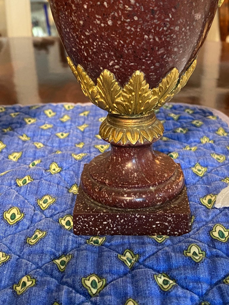 A Pair of Louis XVI Style Ormolu Mounted Porphyry Vases, 19th Century For Sale 4