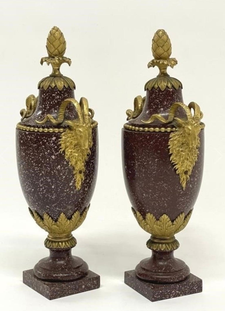 French A Pair of Louis XVI Style Ormolu Mounted Porphyry Vases, 19th Century For Sale