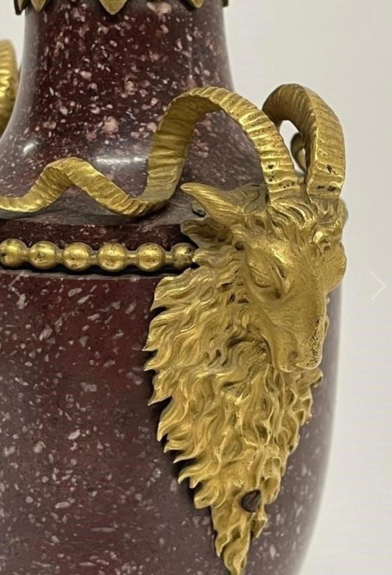 Carved A Pair of Louis XVI Style Ormolu Mounted Porphyry Vases, 19th Century For Sale