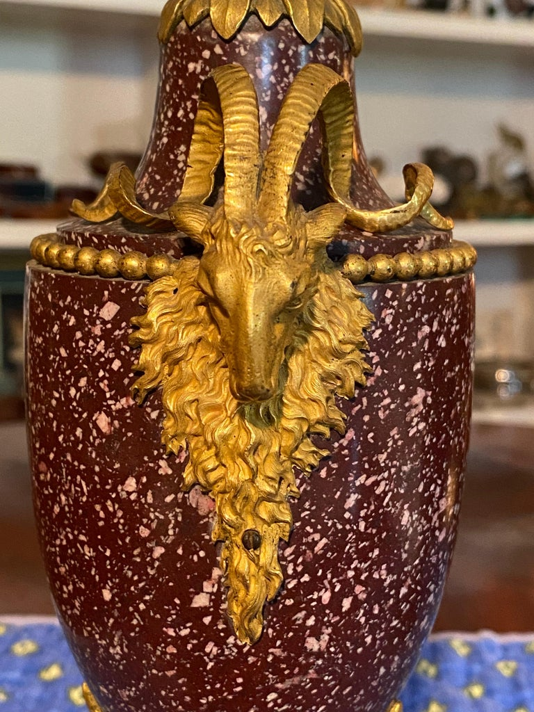 Late 18th Century A Pair of Louis XVI Style Ormolu Mounted Porphyry Vases, 19th Century For Sale
