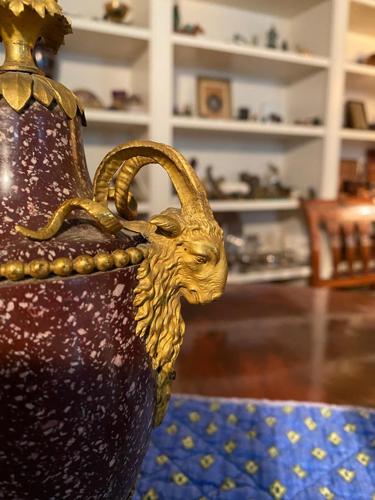A Pair of Louis XVI Style Ormolu Mounted Porphyry Vases, 19th Century For Sale 2