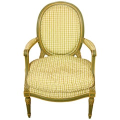 Pair of Louis XVI Style Armchairs with Quilted Check Fabric