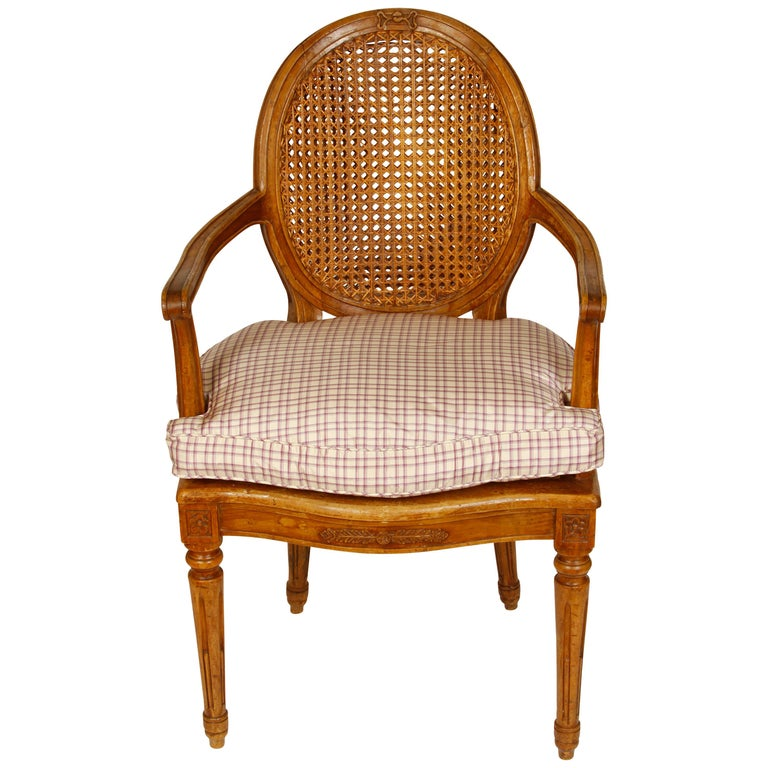 Pair of Louis XVI Style Beechwood Armchairs For Sale