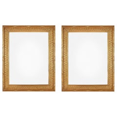 Pair of Louis XVI Style Carved Giltwood Rectangular Mirrors