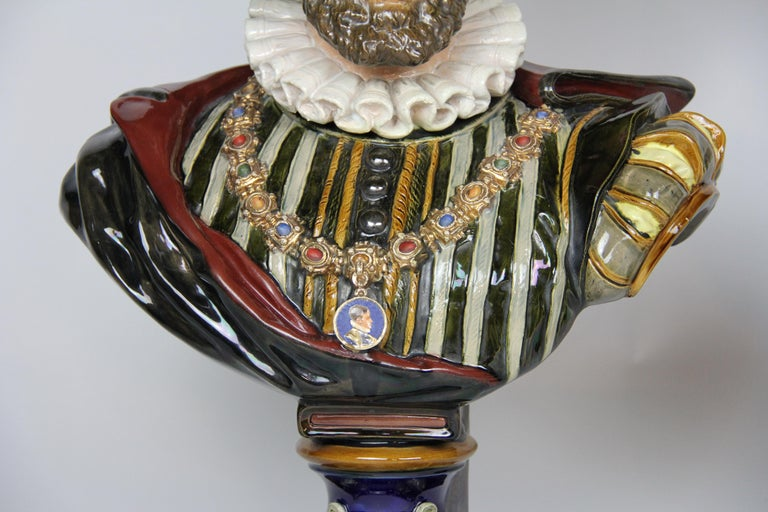 Pair of Louis XVI Style French Majolica Porcelain Busts of Royals For Sale 4