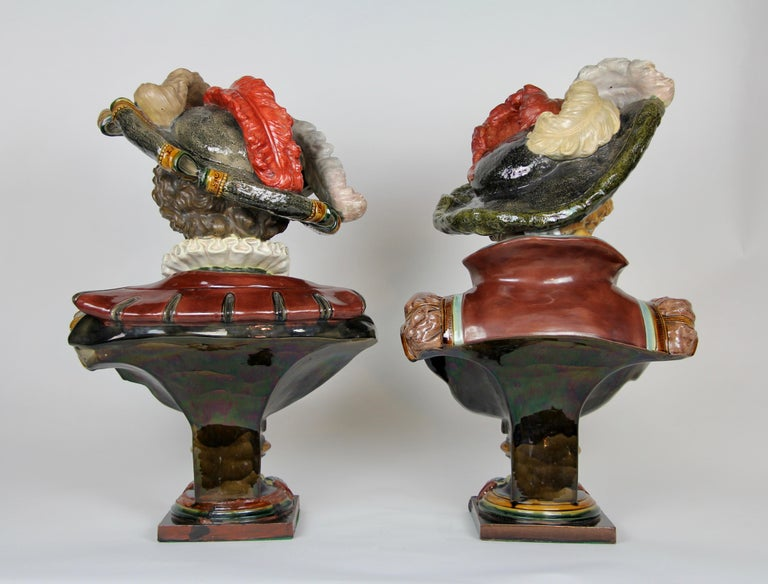 Pair of Louis XVI Style French Majolica Porcelain Busts of Royals For Sale 7