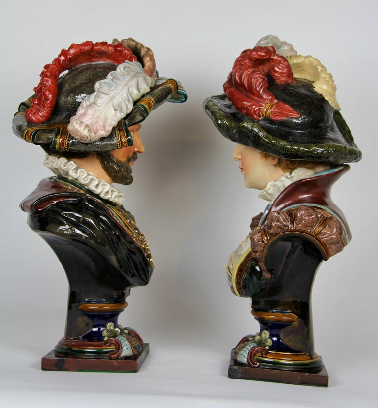 Belle Époque Pair of Louis XVI Style French Majolica Porcelain Busts of Royals For Sale