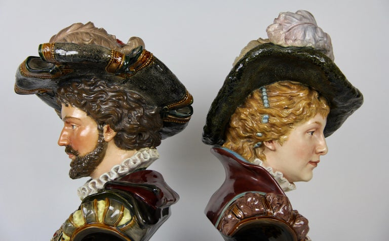 Hand-Painted Pair of Louis XVI Style French Majolica Porcelain Busts of Royals For Sale