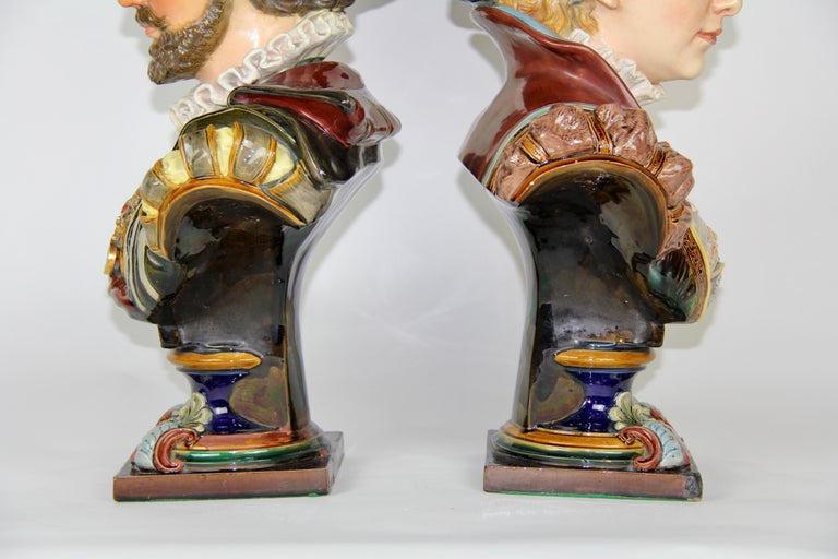 Pair of Louis XVI Style French Majolica Porcelain Busts of Royals In Good Condition For Sale In New York, NY