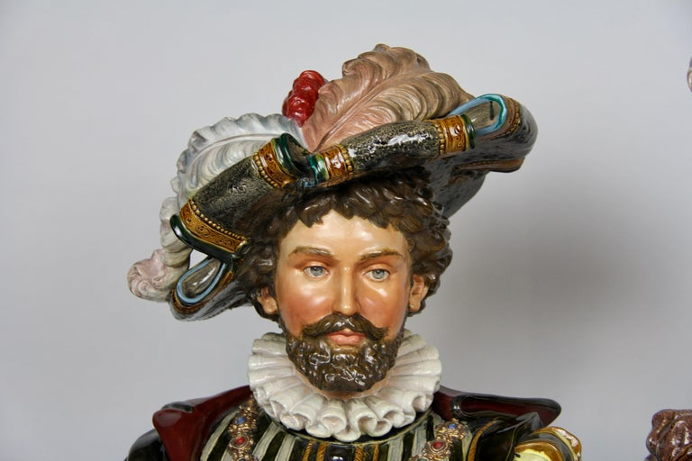 Late 19th Century Pair of Louis XVI Style French Majolica Porcelain Busts of Royals For Sale