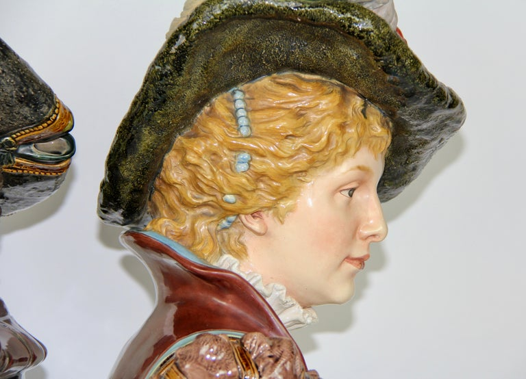 Pair of Louis XVI Style French Majolica Porcelain Busts of Royals For Sale 2