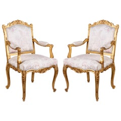 Pair of Louis XVI Style Gilded Armchairs by 'Mellier'