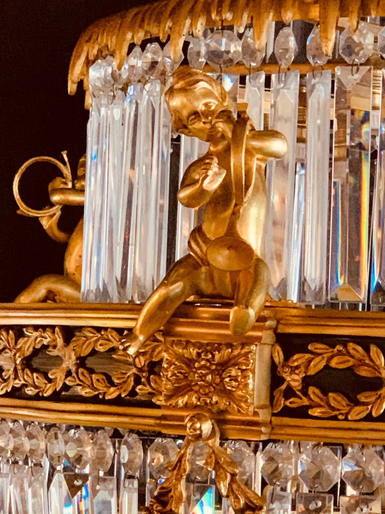 Pair of Louis XVI Style Gilt Bronze and Crystal Swag Neoclassical Chandeliers For Sale 5