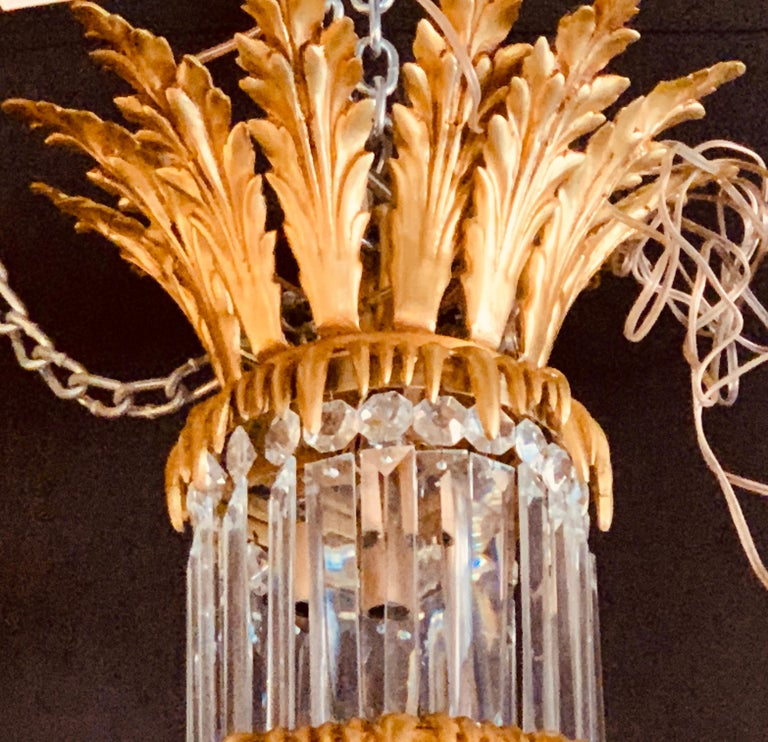 Pair of Louis XVI Style Gilt Bronze and Crystal Swag Neoclassical Chandeliers For Sale 10