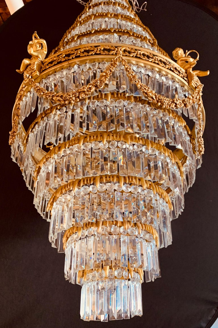 Pair of Louis XVI Style Gilt Bronze and Crystal Swag Neoclassical Chandeliers For Sale 12