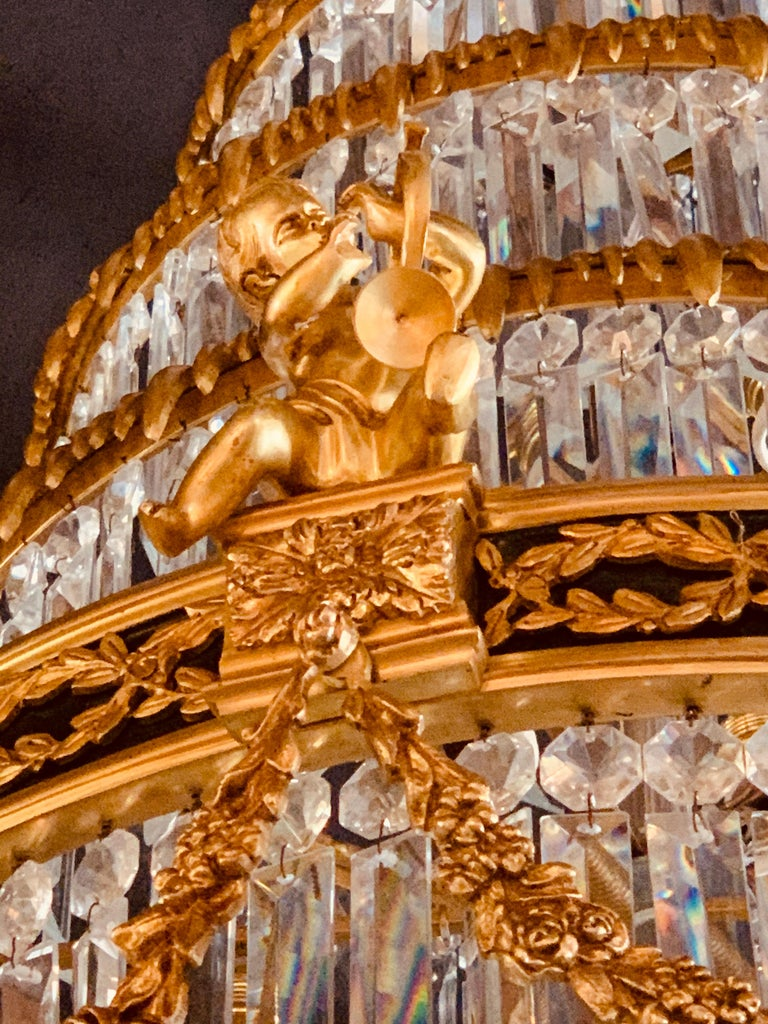 Pair of Louis XVI Style Gilt Bronze and Crystal Swag Neoclassical Chandeliers For Sale 14