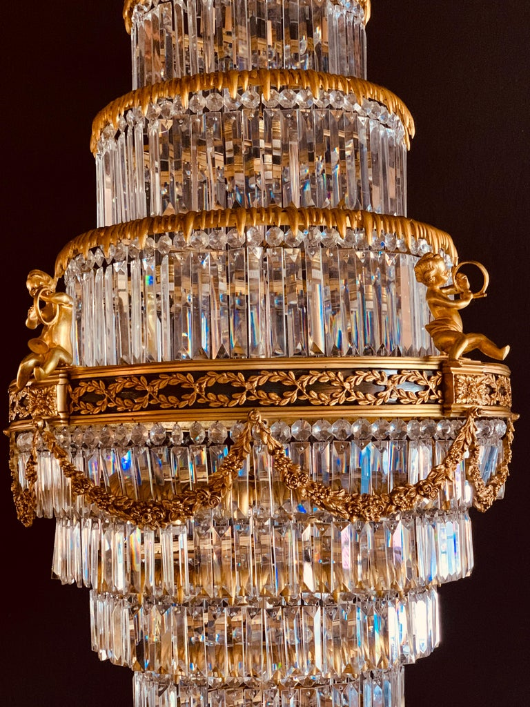 20th Century Pair of Louis XVI Style Gilt Bronze and Crystal Swag Neoclassical Chandeliers For Sale