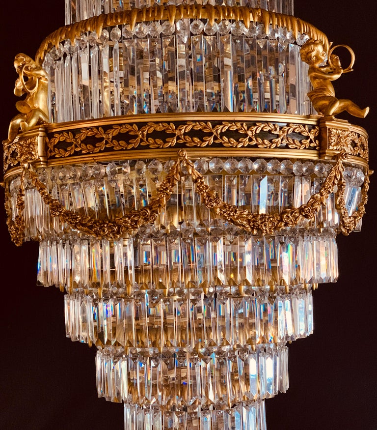 Pair of Louis XVI Style Gilt Bronze and Crystal Swag Neoclassical Chandeliers For Sale 1