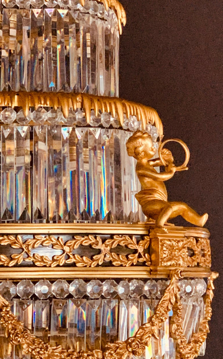 Pair of Louis XVI Style Gilt Bronze and Crystal Swag Neoclassical Chandeliers For Sale 3