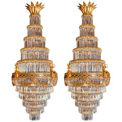 Pair of Louis XVI Style Gilt Bronze and Crystal Swag Neoclassical Chandeliers