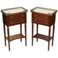 Pair of Louis XVI Style Marble Top Nightstands with Pierced Brass Gallery