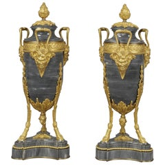 Pair of Louis XVI Style Marble Urns Attributed to Maxime Secrétant, circa 1890