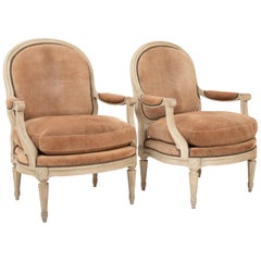 Pair of Louis XVI Style Suede and Painted Armchairs by Maison Jansen