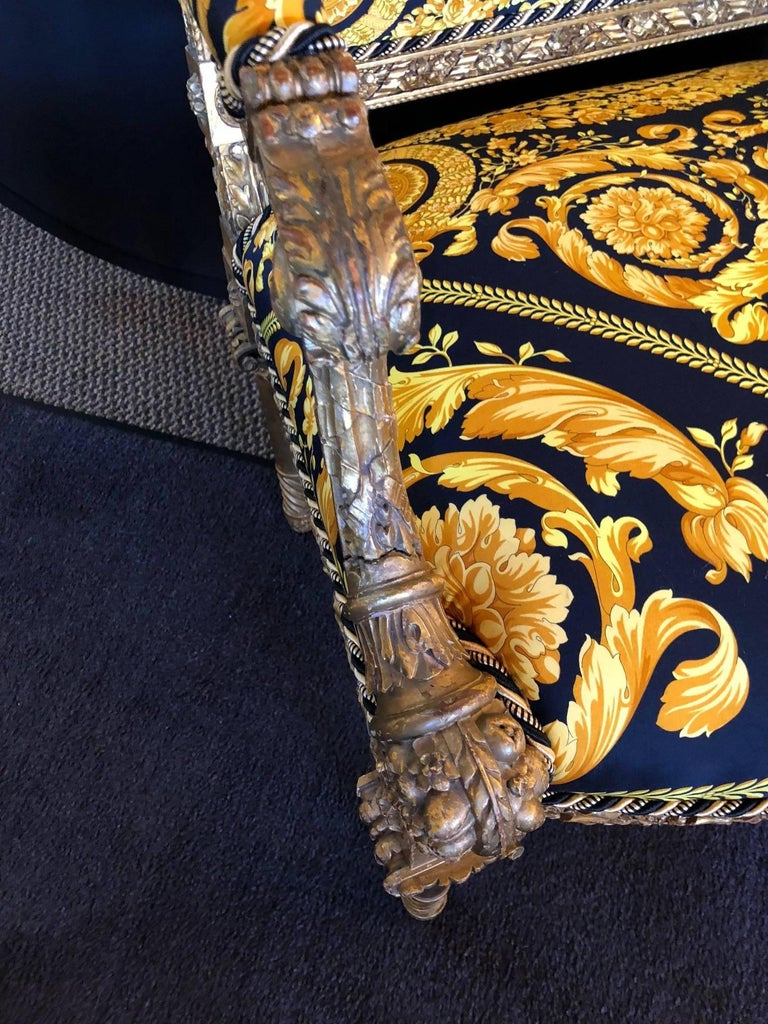 Pair of Louis XVI Style Versace Fauteuils One of a Kind In Good Condition For Sale In Stamford, CT