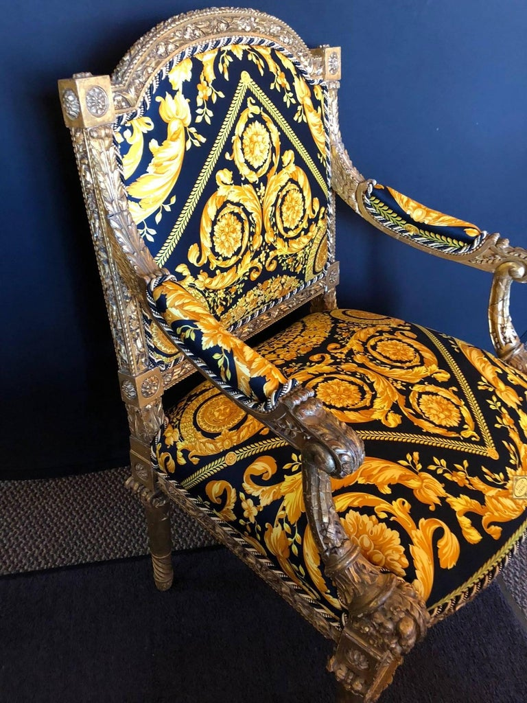20th Century Pair of Louis XVI Style Versace Fauteuils One of a Kind For Sale