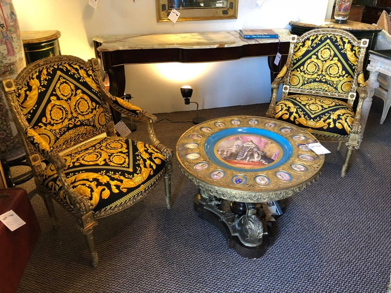 Pair of Louis XVI Style Versace Fauteuils One of a Kind For Sale 1