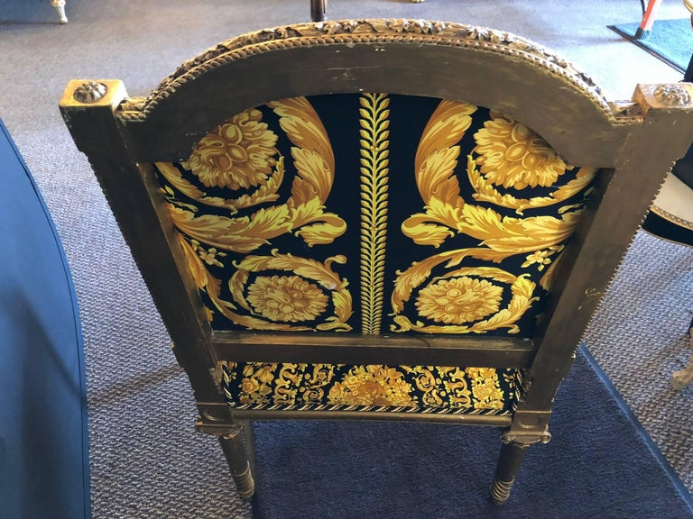 Pair of Louis XVI Style Versace Fauteuils One of a Kind For Sale 3