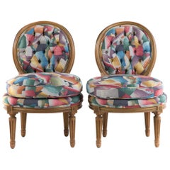 Pair of Louis XVI Style Vintage Slipper Chairs