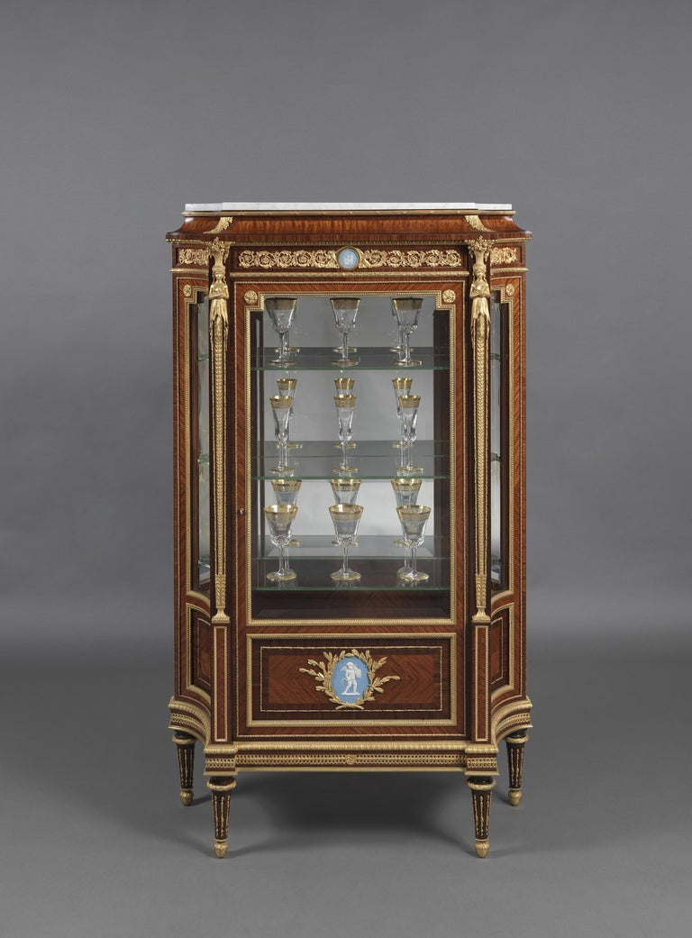 French Pair of Louis XVI Style Vitrines with Wedgwood Plaques by Zwiener, circa 1880 For Sale