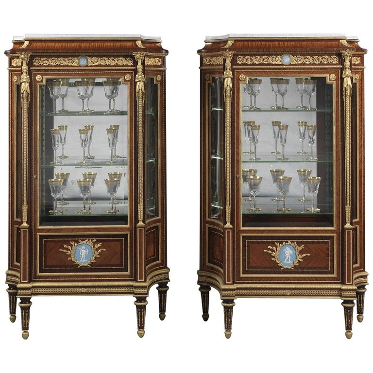 Pair of Louis XVI Style Vitrines with Wedgwood Plaques by Zwiener, circa 1880 For Sale