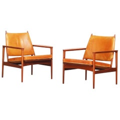 Pair of Danish Lounge Easy Chairs by Torbjørn Afdal for S. Bjørneng Teak Leather