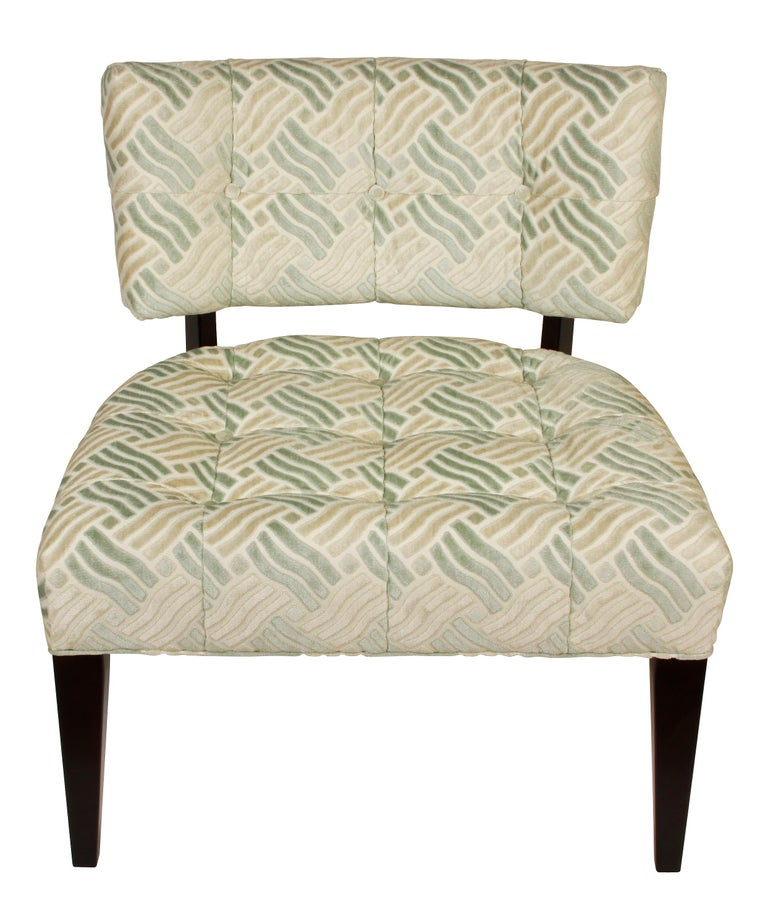 American Pair of Low Mid-Century Modern Chairs in Fret Velvet Fabric For Sale
