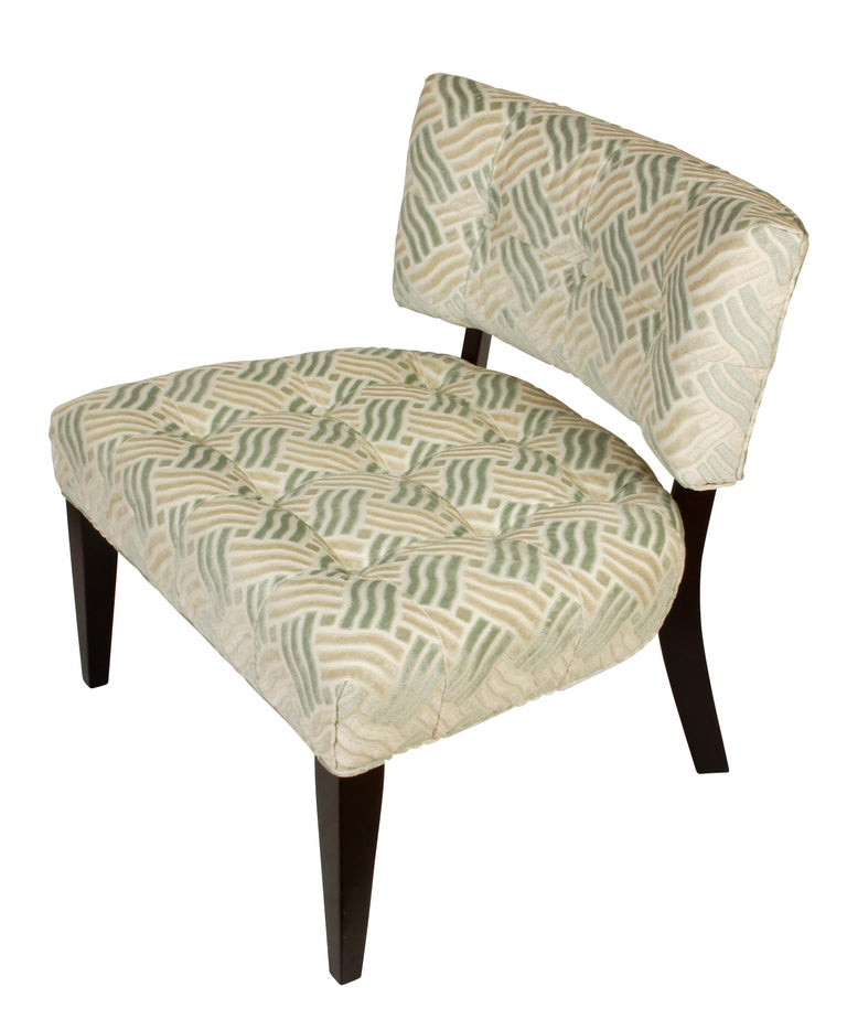 Pair of Low Mid-Century Modern Chairs in Fret Velvet Fabric In Good Condition For Sale In Locust Valley, NY