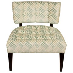 Pair of Low Mid-Century Modern Chairs in Fret Velvet Fabric