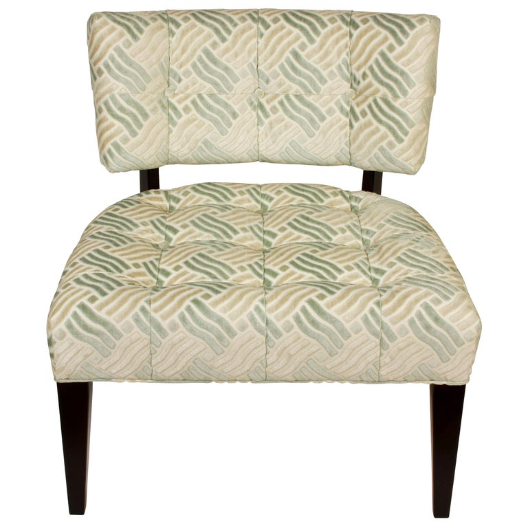 Pair of Low Mid-Century Modern Chairs in Fret Velvet Fabric For Sale